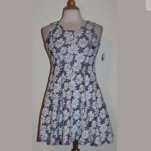 NEW Beautees Fit & Flare Gray White Floral Dress